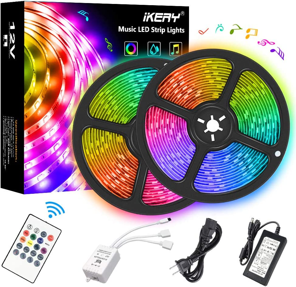 LED Strip Lights 32.8ft Kit, IKERY Music Sync Color Changing LED Room Lights, IP65 Waterproof 300 LEDs 5050 RGB Light Strip, Flexible Tape Lights with RF Remote Control for Bedroom, Kitchen,TV, Home