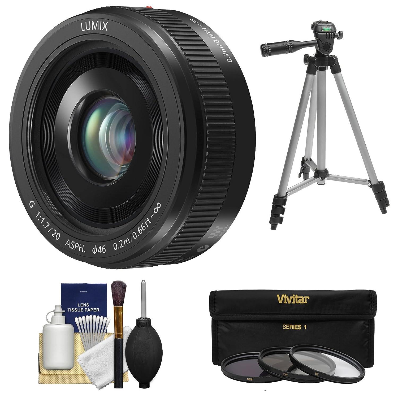 Panasonic Lumix G Vario 20 mm F / 1.7 II ASPHレンズ(ブラック) with 3フィルタ+三脚+キットfor g6、g7、gf7、gh3、gh4、gm1、gm5、gx7、gx8カメラ   B00EV8XJQE