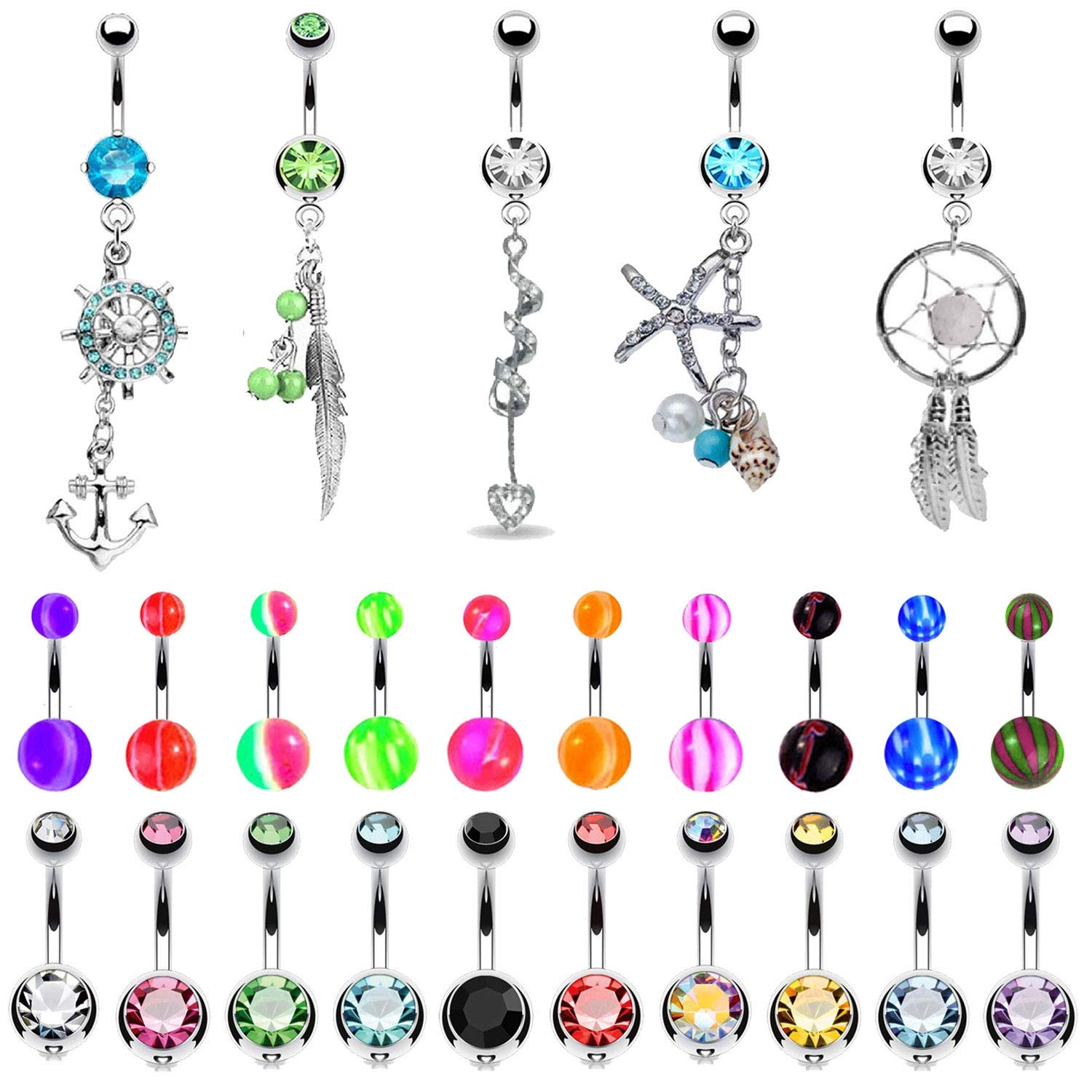 BodyJ4You 65 Belly Button Rings Dangle Barbells 14G Acrylic Stainless Steel CZ Navel Body Jewelry by BodyJ4You