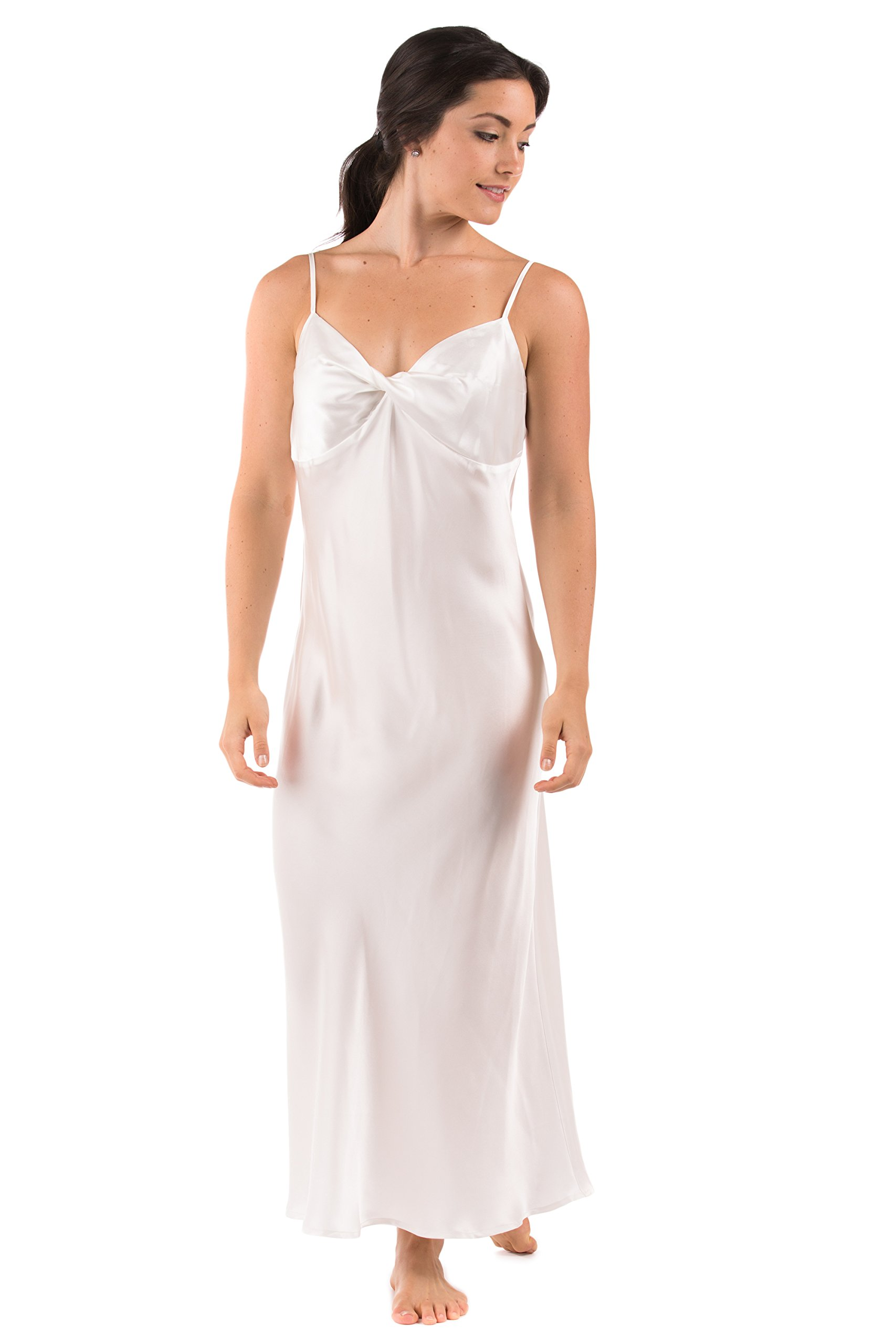 Women's 100% Silk Luxury Nightgown - Sleepwear Gift by TexereSilk (Caviar Noir, Natural White, Medium) Lightweight Sleepwear for Her WS0401-NWH-M