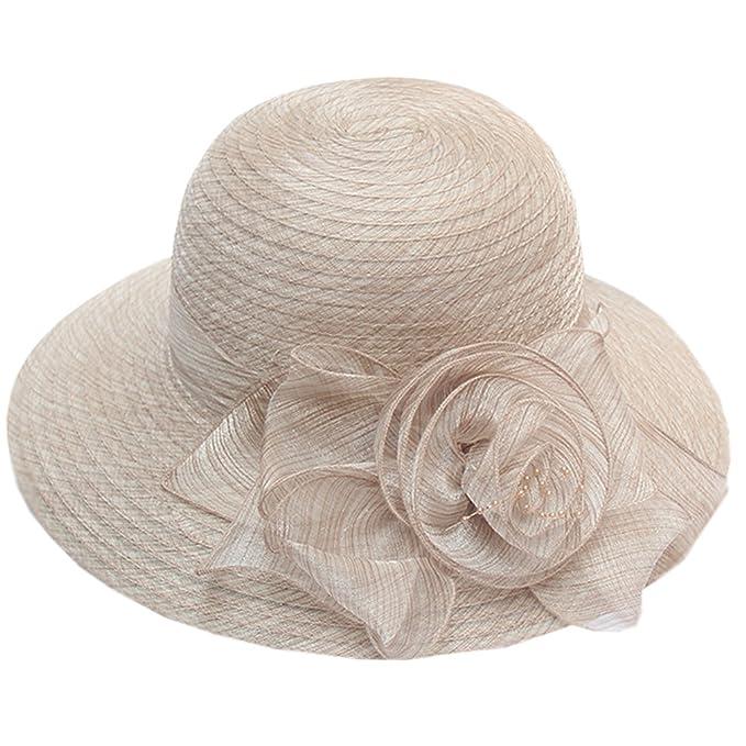Nercap Women s Fascinator Tea Party Wedding Church Dress Kentucky Derby  Hats Wide Brim Summer Cap ( 6cf8b9363d1c