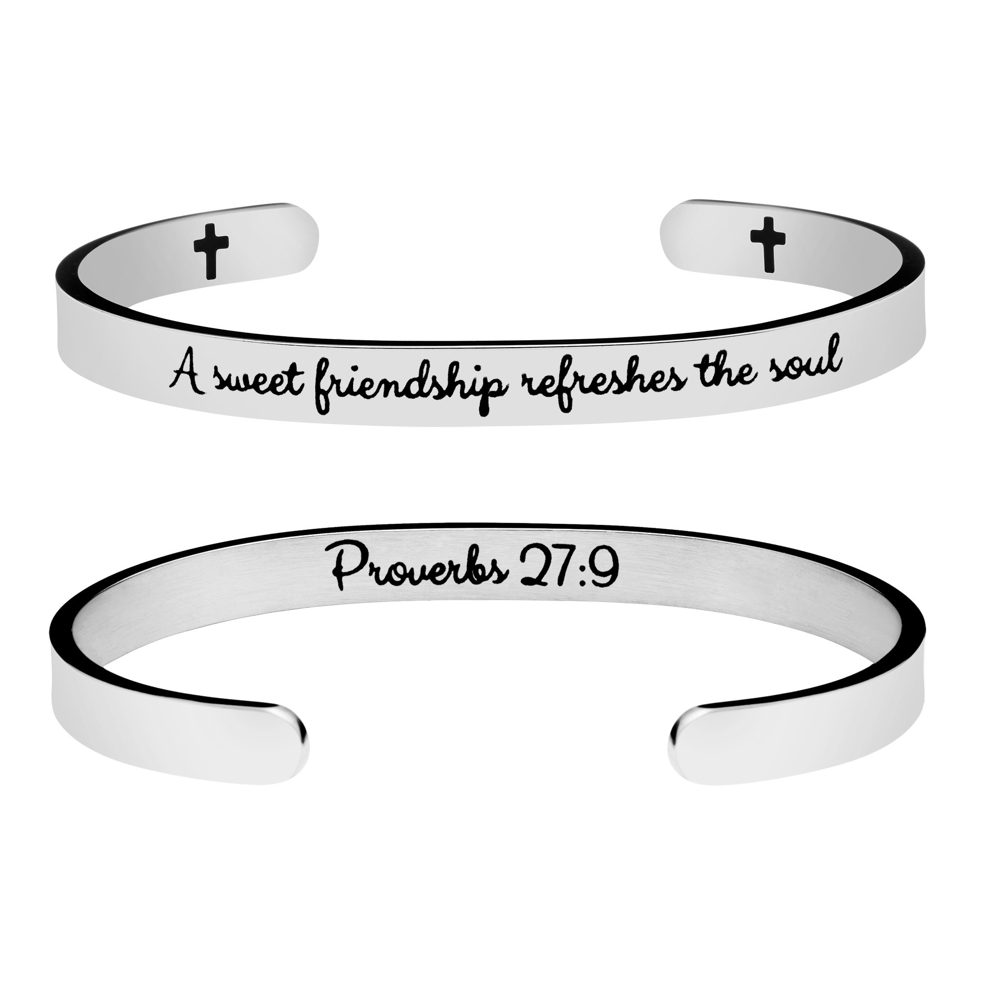 Yiyang Bracelet for Friends Inspirational Cuff Bangle Stainless Steel Jewelry Gift Mantra A Sweet Friendship Refresh the Soul