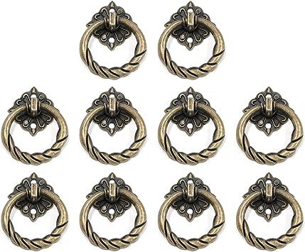 Antique Bronze Dresser Ring Knob Drawer Pulls Handles Knobs  Cupboard Drop Pull Kitchen Cabinet Knocker Knob Pull  Furniture Hardware