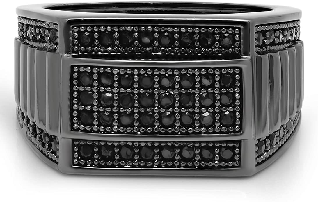 Iced Out Square 925 Sterling Silver Bling Micro-Pave Men/'s Hip-Hop Pimp Ring