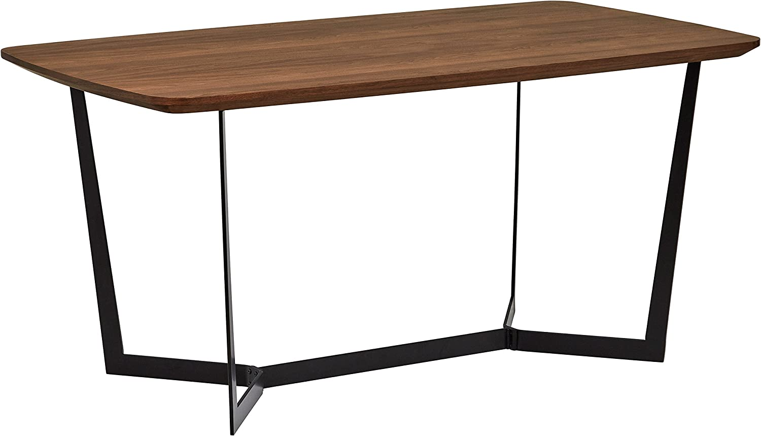 "Rivet Modern Industrial Pedestal Dining Room Table, 63""W, Walnut Wood, Metal"