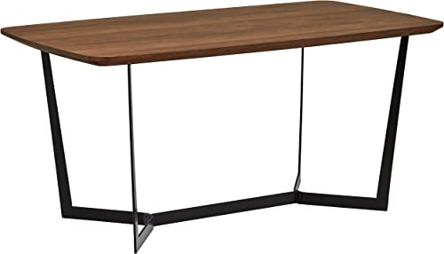 Rivet Modern Industrial Pedestal Dining Room Table, 63 W, Walnut Wood, Metal