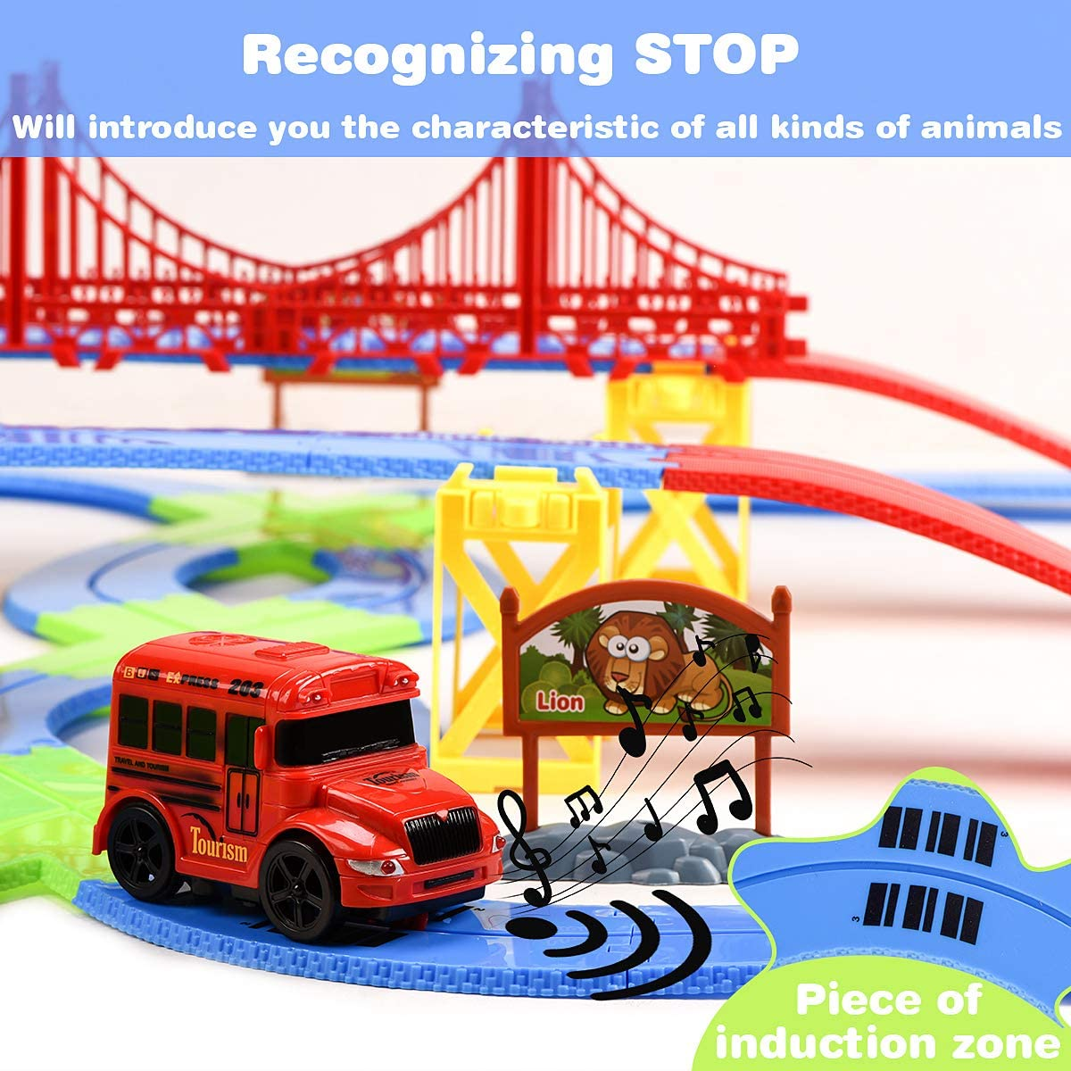 Animals Recognizing Stop Bridge and Buildings 81 Pcs Toys PlaySet with Touring Car for Toddlers Toy Gift for 3+ Years Old Boys and Girls Kids Zoo Toy Car Track Set Play Figurines