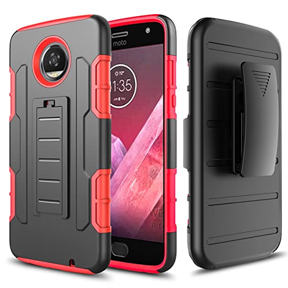 huge discount 486a2 8bf56 Moto Z2 Play Case, [Not Fit Moto Z Play] Starshop [Armor Holster] Dual  Layers Kickstand Case With [Premium HD Screen Protector Included] and  Locking ...