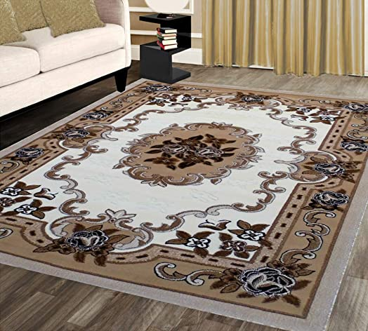 Traditional Area Rug Design Kingdom 121 Ivory 8 Feet X 10 Feet