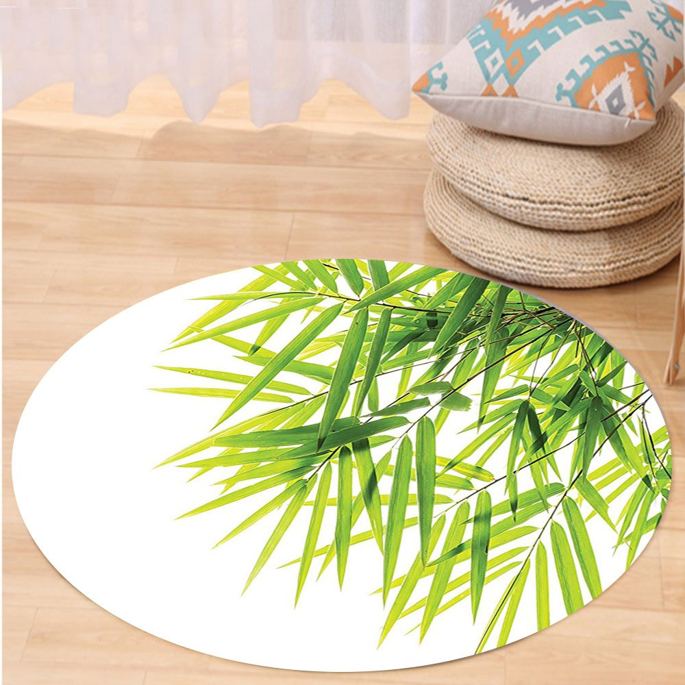VROSELV Custom carpetBamboo House Decor Bamboo Leaf Illustration Icon for Wellbeing Health Fresh Purity Tranquil Art Print Bedroom Living Room Dorm Decor Green White Round 72 inches
