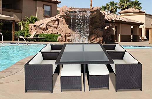 9 Piece Outdoor Sectional Dining Wicker Patio Furniture Set