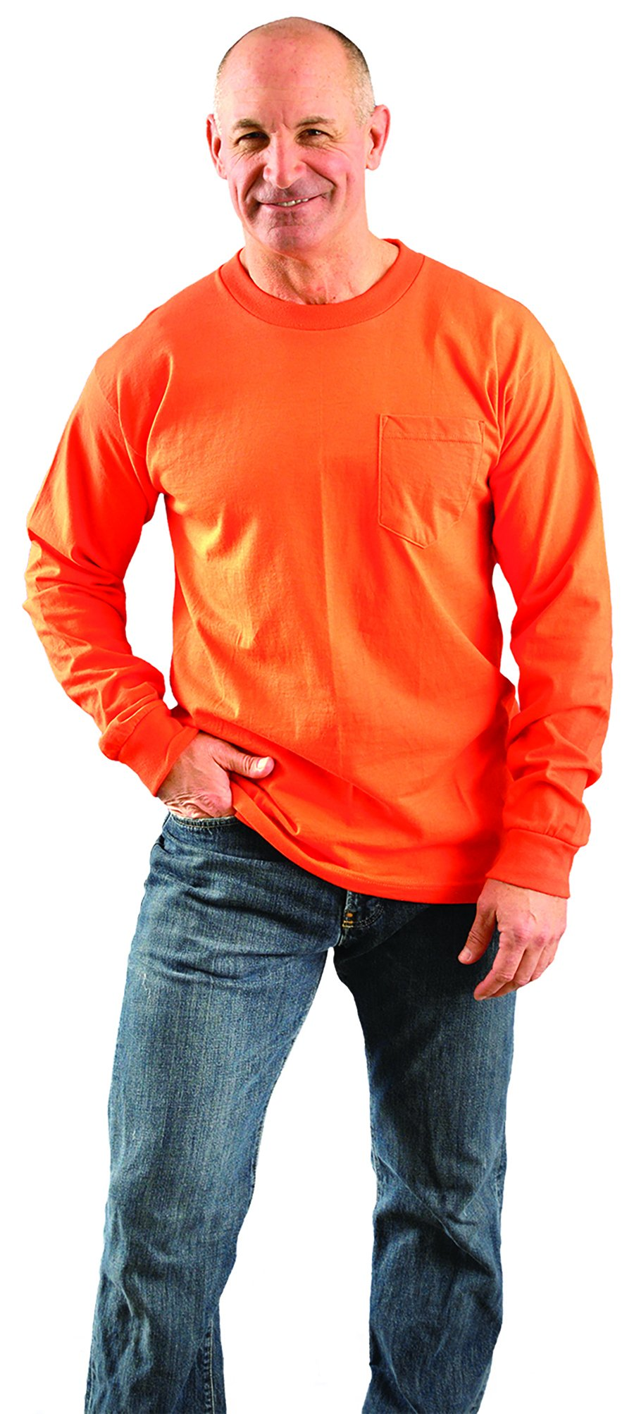 OccuNomix LUX-300LP-07L Classic Long Sleeve 100% Pre-Shrunk Cotton T-Shirt with Pocket, Non-ANSI, Large, Orange (High Visibility) by OccuNomix (Image #2)