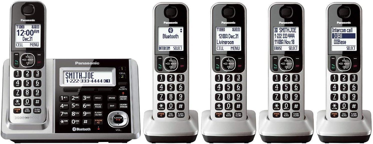 Panasonic KX-TGF375S DECT 5-Handset Landline Telephone (Renewed)