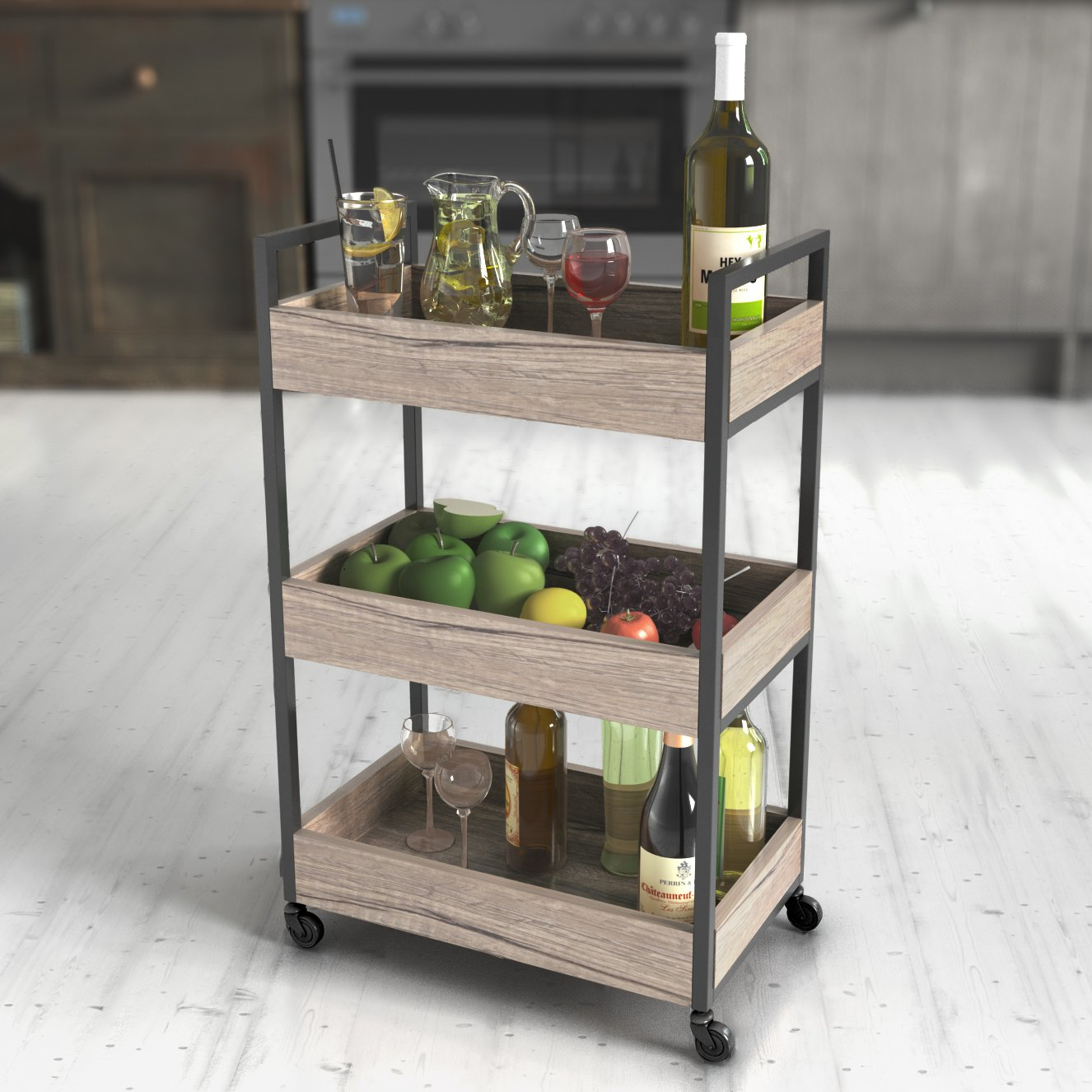 Roomfitters 3 Tier Rolling Utility Storage Cart, Kitchen Serving Bar Cart, Multipurpose Bathroom Nursery, Oak LHL-SC-001