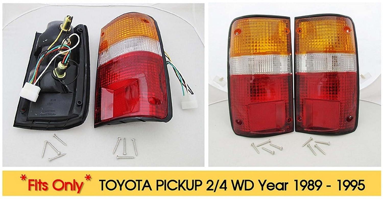 Amazon com toyota hilux pickup truck 4x2 4x4 89 95 tail lights premium oem pair 90 91 92 automotive