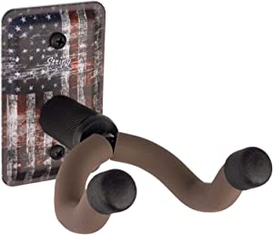 String Swing Guitar Hanger - Holder for Electric Acoustic and Bass Guitars - Stand Accessories Home or Studio Wall - Musical Instruments Safe without Hard Cases ? Amercian Flag Steel CC60K-FL