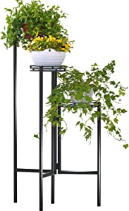 3-Tier Round Plant Stand with Wood Shelf, HFHOME Desktop Shelf Succulents Micro Plant Pot Holder Flower Stand Photo Display Rack for Home and Office,Black (Planter Stand Black)