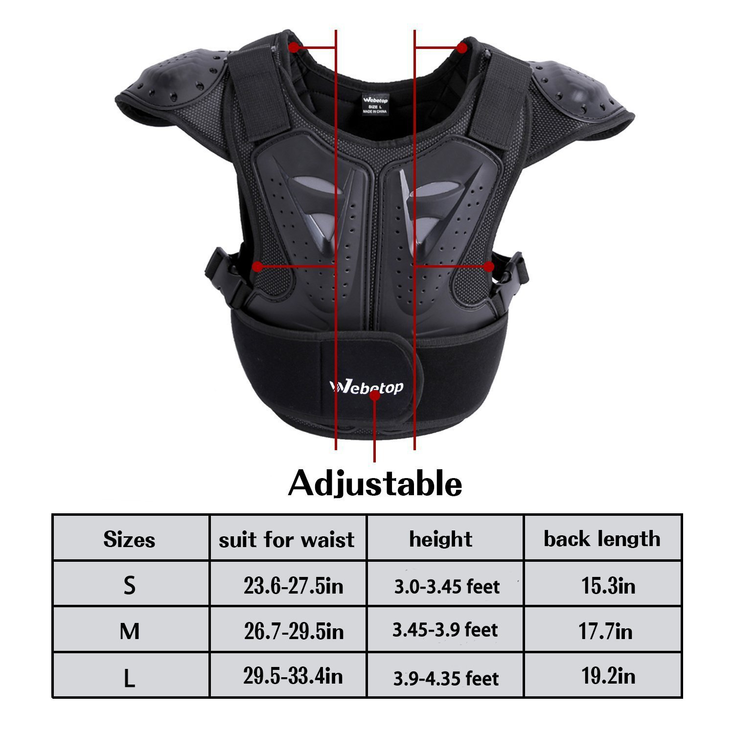 Webetop Kids Dirt Bike Body Chest Spine Protector Vest Protective for Dirtbike L by Webetop (Image #2)
