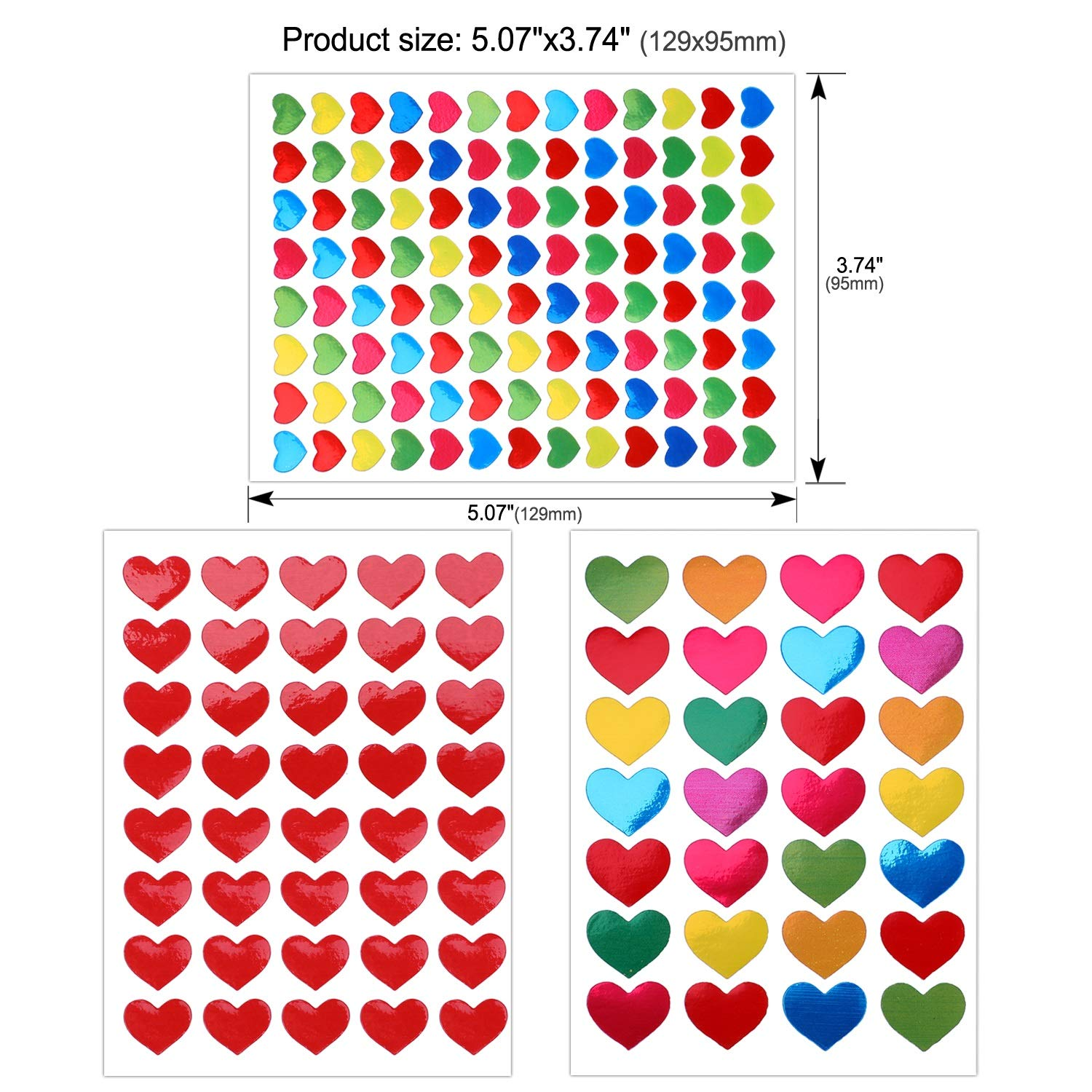 3000+ Colorful Heart Konsait 60 Sheets Valentine Heart Stickers Love Decorative Sticker for Kids Envelopes Cards Craft Scrapbooking for Great Party Favors Gift Prize Class Rewards Award Praise