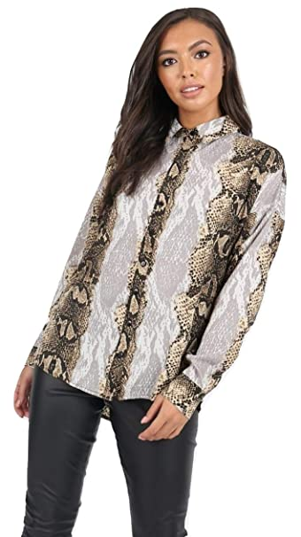 Momo&Ayat Fashions - Camisas - Camisa - Animal Print - Cuello ópera - Manga Larga - para Mujer: Amazon.es: Ropa y accesorios