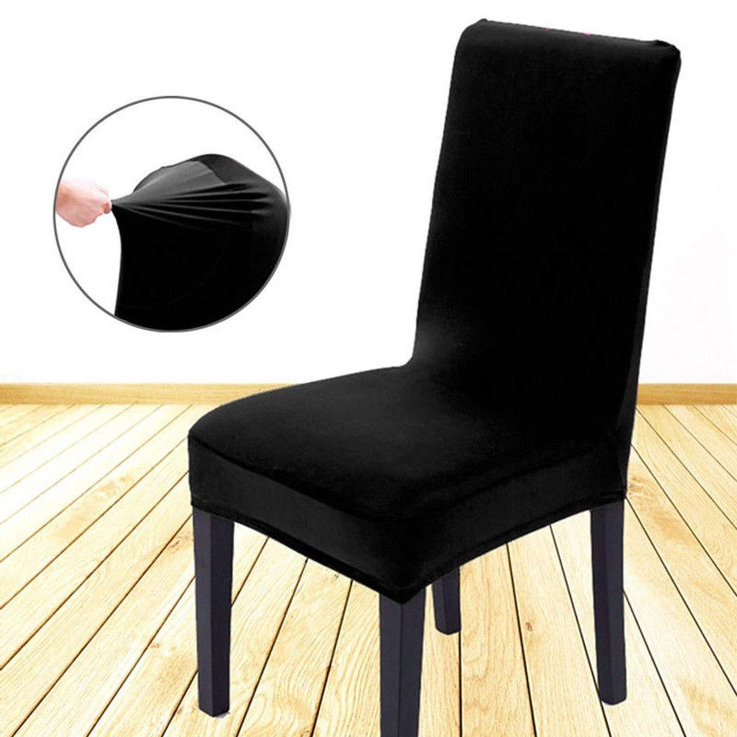 pleasantlyday Comfortable Wrinkle Resistant Chair Hood Removable Stretch Dining Room,Black,Other by pleasantlyday (Image #3)