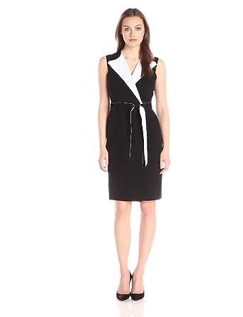 Calvin Klein Womens Color Block Wrap Dress Blackwhite 8 At