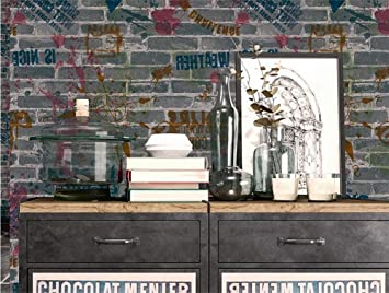 H&M Papel pintado de alta calidad de PVC retro nostálgico simple 3D imitación ladrillo papel pintado