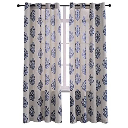 Burlap Linen Printed Curtains Living Room Grommet Window Room Darkening  Curtains Bedroom 52 x 84 Inch Navy Blue Set of 2 Curtain Panels