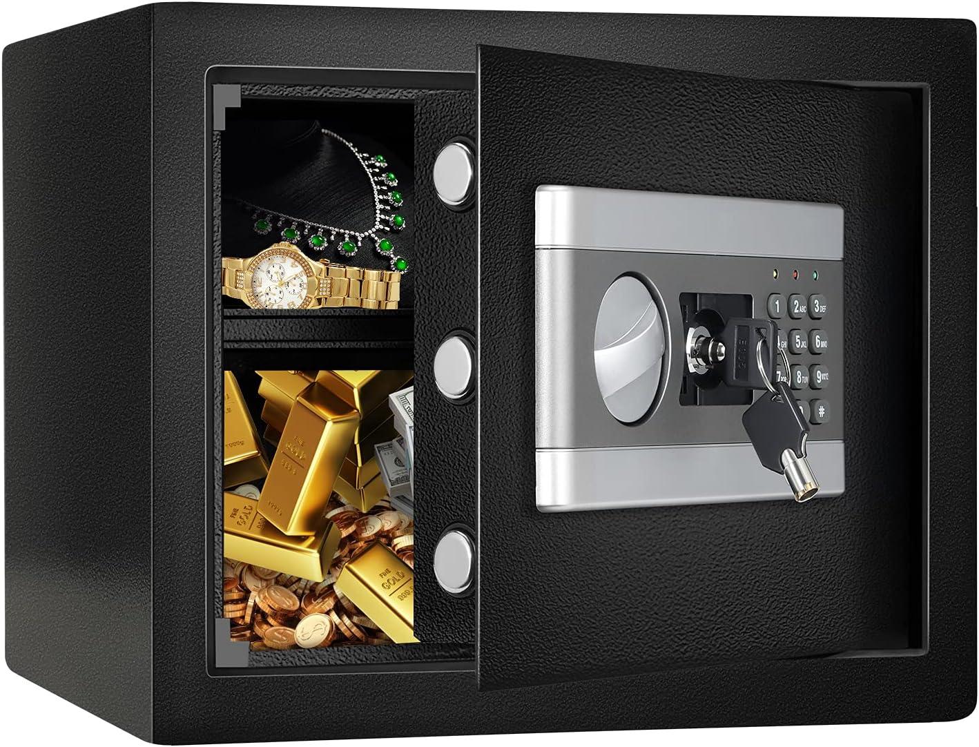 1.0 Cub Fireproof Safe Cabinet Security Box, Digital Combination Lock Safe with Keypad LED Indicator, for Cash Money Jewelry Guns Cabinet (Black)
