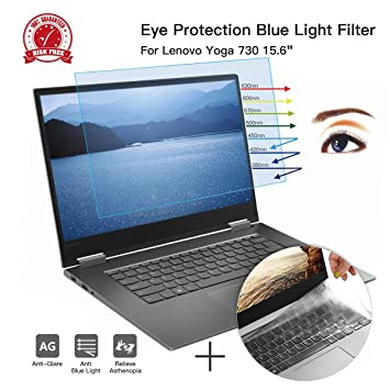 CaseBuy Anti-Glare Screen Protector Eye Protection Blue Light Filter for Lenovo Yoga 730 2-in-1 15.6 Inch & Ultra Thin TPU Keyboard Cover Accessories ...