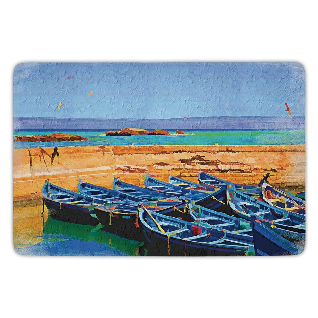 Bathroom Bath Rug Kitchen Floor Mat Carpet,Country Decor,Sea Scenery with Gulls and Traditional Fishing Boats on the Shore in the Village Island,Cream Blue,Flannel Microfiber Non-slip Soft Absorbent