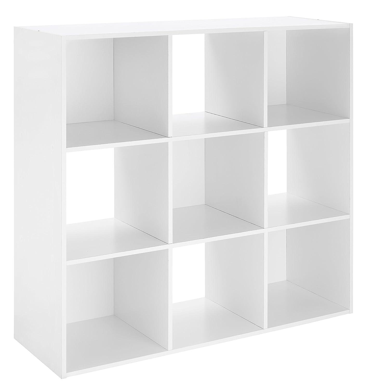 Whitmor Wood Storage Organizer, 9 Cube, White