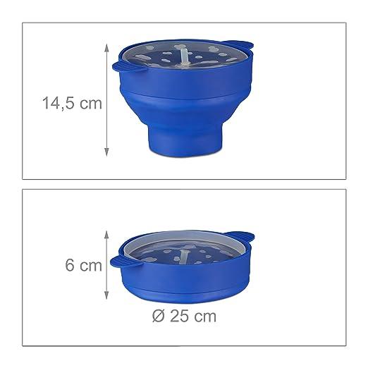 Relaxdays Palomitero para Microondas, Silicona, Azul, 14.5 x 25.5 x 25.5 cm: Amazon.es