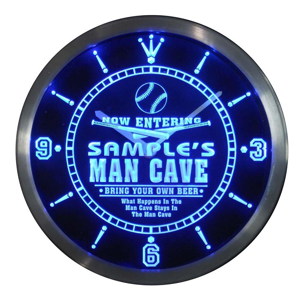 ncqb0171-b GORDONS Baseball Man Cave Bar Beer Den LED Neon Sign Wall Clock