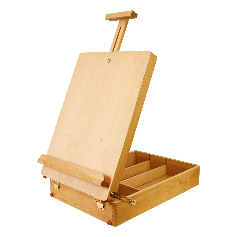 U.S. Art Supply Newport Large Adjustable Wood Table Sketchbox Easel, Paint Palette, Premium Beechwood - Portable Wooden Artist Desktop Case - Store Art Paint, Markers, Sketch Pad - Drawing Painting