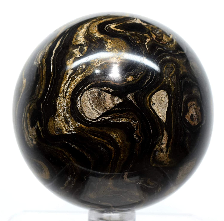 HQRP Esfera de estromatolita Oscura de 6,6 cm, 410 g, Piedra ...