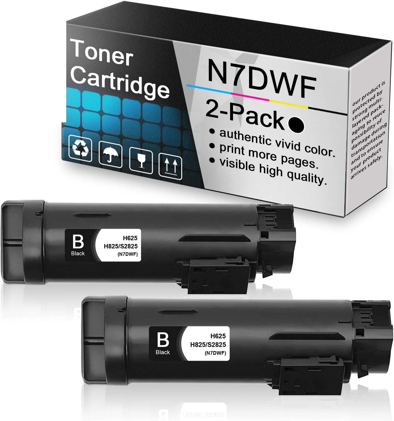 2-Pack Black N7DWF Compatible Toner Cartridge Replacement for Dell h625 to use with Dell H625 H625cdw H825 H825cdw S2825cdn S2825 Printers.