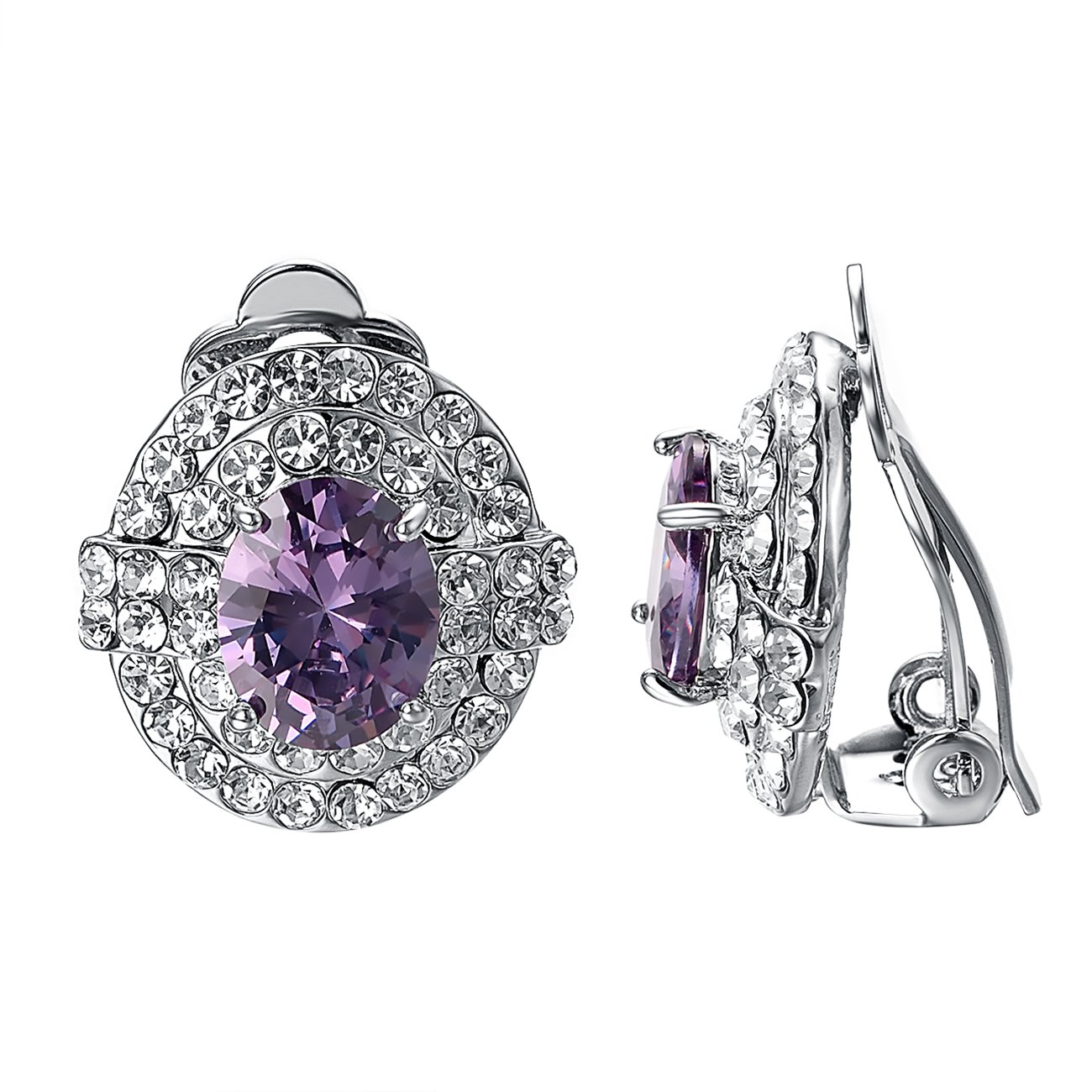 Yoursfs Large Clip-On Earrings for Wedding Bridal Rhinestone Opal Oval Shape Non Pierced Ears Clips (Clip On Earrings)