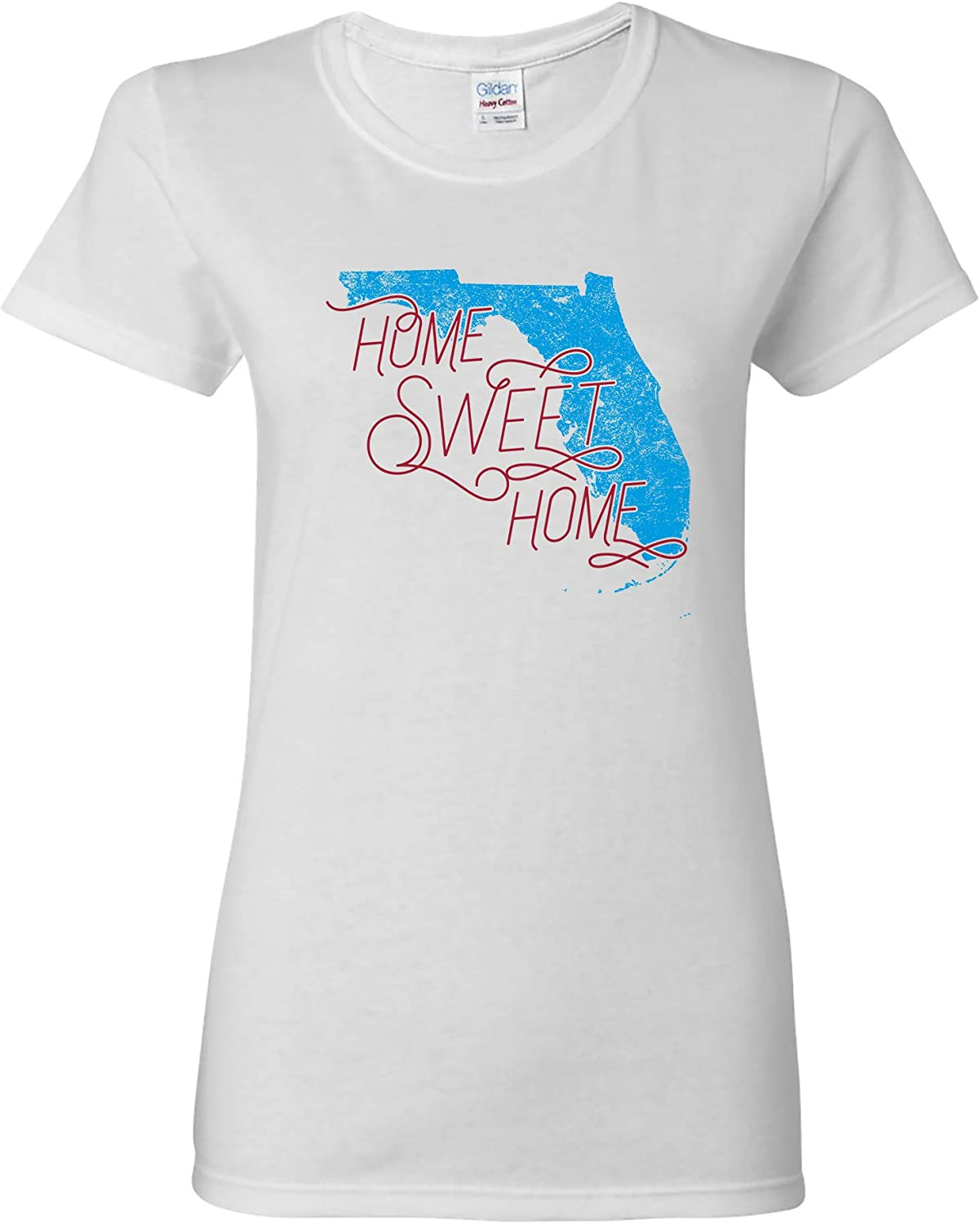 UGP Campus Apparel Florida Home Sweet Home - State America Pride Womens T Shirt - Small - White