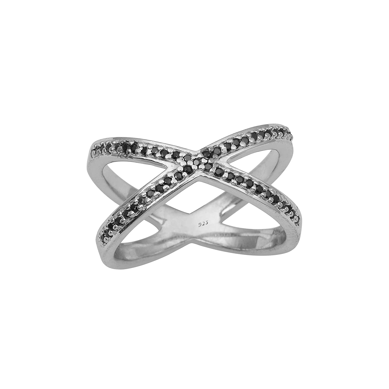 Criss Cross Black Spinel Gemstone 925 Sterling Silver Wedding Stacable Band Ring