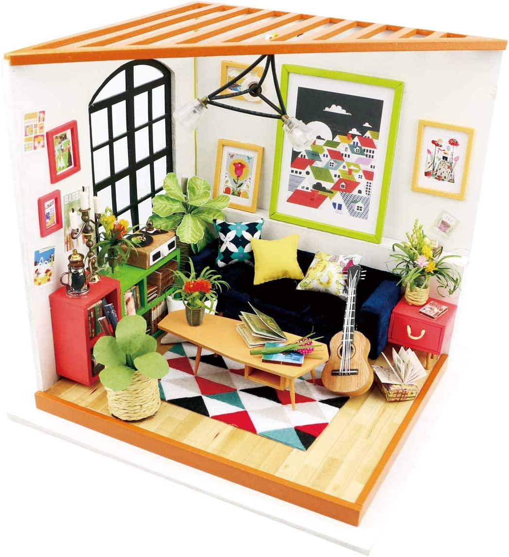 Rolife Dollhouse DIY Miniature Kits -1/24 Scale Living Room Model Gifts for Teens/Grown-ups (Locus's Sitting Room)