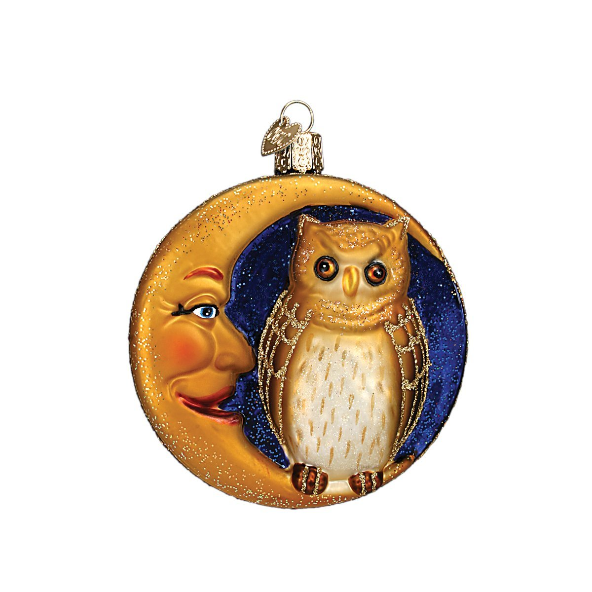 Old World Christmas Ornaments: Owl in Moon Glass Blown Ornaments for Christmas Tree