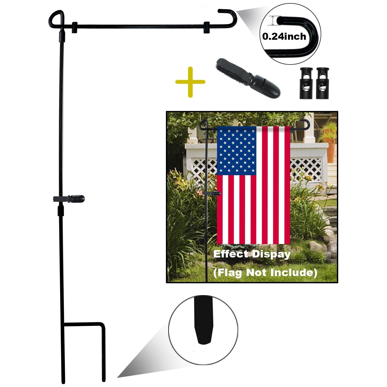 HOOSUN Garden Flag Stand Yard Flag stand Pole Holder 36.2'' H x 16.6'' W Fits 12.5'' x 18'' Garden Flags For Spring Summer Autumn Winter Thanksgiving Halloween Christmas Birthday