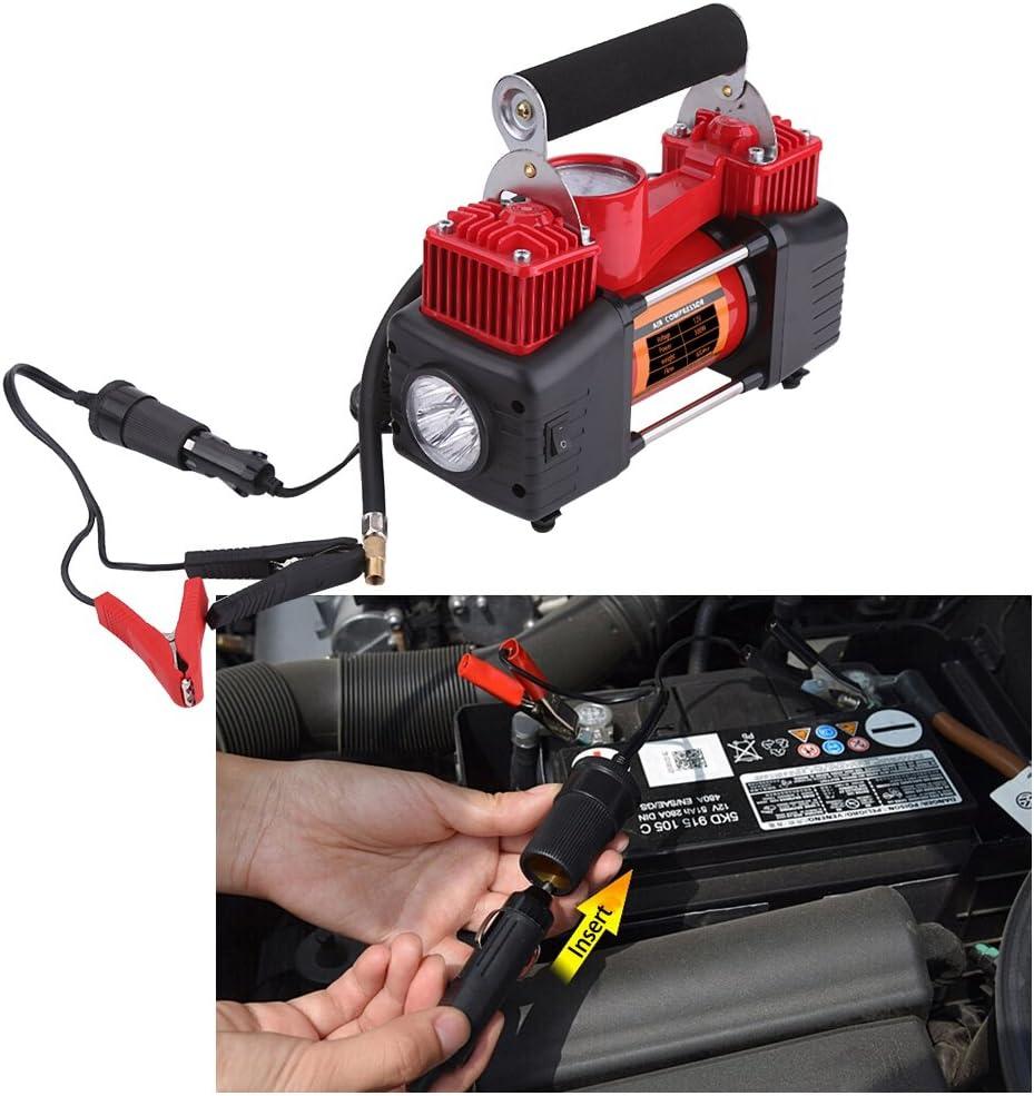 12/V 150psi double Piston Portable Pneu de voiture automatique Gonfleur de pneu Compresseur dair Pompe /à Pression avec lumi/ère et jauge Gonfleur de pneu Pompe