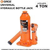 Groz 4 Ton Premium Hydraulic Bottle Jack with Advanced Load Limiting Device   Portable, Leak-proof, Durable   For Cars, Taxis, Mini Trucks, MUVs, SUVs, LCVs, etc.  JACK/BT/4W