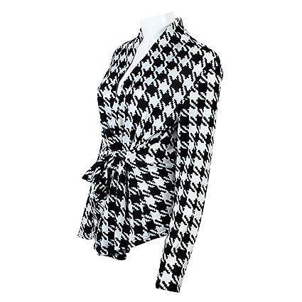 Roberstin New Women Blazers And Jackets Black White Plaid Blazer Feminino Summer Blazer Coat Work Wear Office Ol Style Blazer With Sashes at Amazon Womens ...