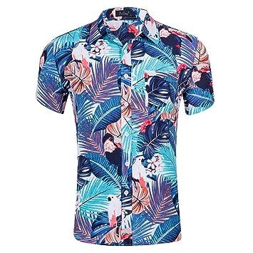 MU Camiseta Hawaiana para Hombre De Fiesta Playera De Algodón con Manga Corta Estampada: Amazon.es: Deportes y aire libre