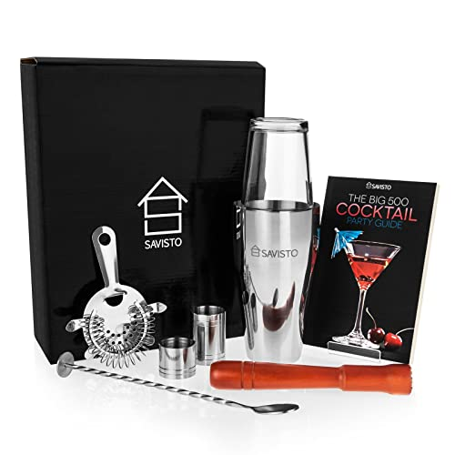 Savisto Premium 8 Piece Cocktail Set With Boston Cocktail Shaker, Glass, 500 Recipe Cocktail Book, 25ml & 50ml Bar Measures, Twisted Bar Spoon, Strainer, Wooden Muddler, Elegant Gift Box
