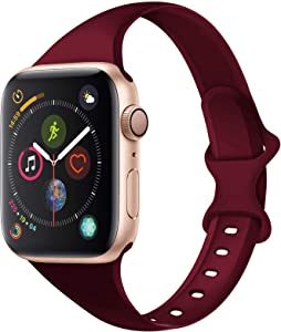 Acrbiutu Bands Compatible with Apple Watch 38mm 40mm 42mm 44mm, Slim Thin Narrow Replacement Silicone Sport Accessory Strap Wristband Compatible for iWatch SE Series 1/2/3/4/5/6 Women Men