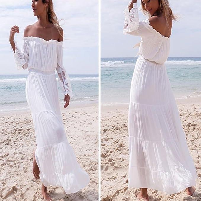 9d6fc3def9f0 JURTEE Women Sexy Strapless Off The Shoulder Lace Long Sleeve Beach Summer  Solid Chiffon Elegant Long Dress Dresses Vacation Beach Dresses:  Amazon.co.uk: ...